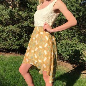 High-low pattern/knit dress